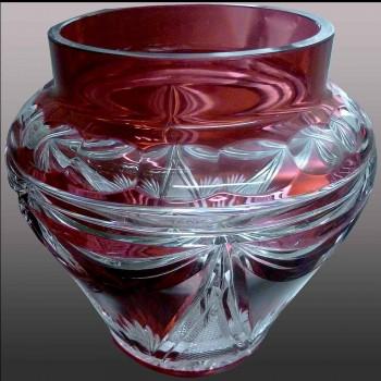 Val Saint Lambert          vase en cristal bleu cobalt signé Floriac