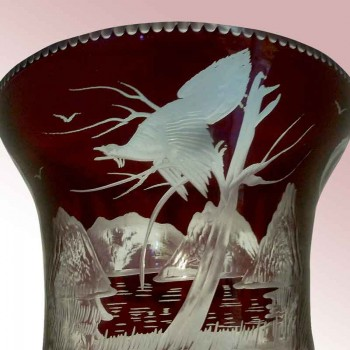 Crystal Bacarrat and Bronze Doré, vase carved cabochon and diamond point