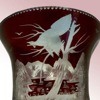 Crystal Bacarrat y Doré de bronce, Jarrón tallado cabochon y diamante punto