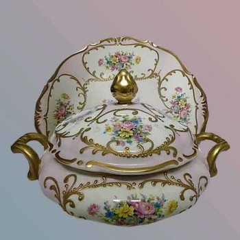 The gold - painted limoge Daniel Moreaux - soup - vegetable pretty floral decoration with stripe porcelain