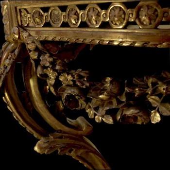 Console bois doré sculpté d'époque Louis XVI