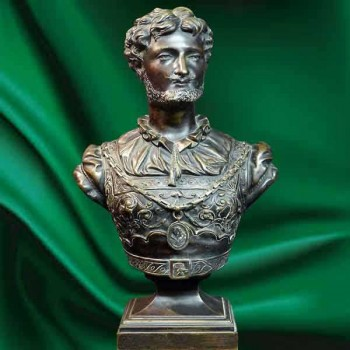 19th century bronze bust sculpture signed