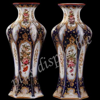 Pair of porcelain vase fine floral decor XIX century