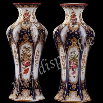 Par de jarrón de porcelana fina decoración floral del siglo XIX