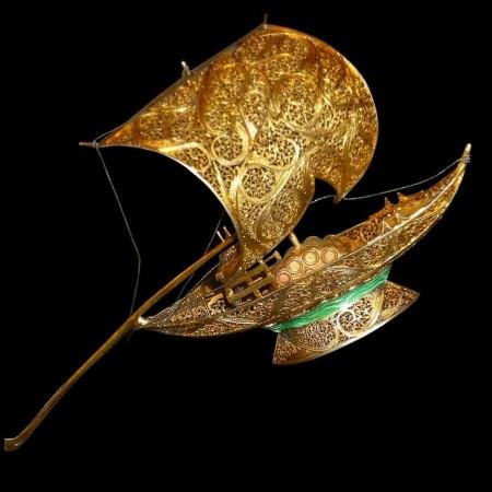 Felouque in Silber und Gold geprägt Ende des 19. Jahrhunderts
