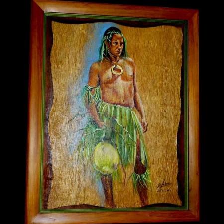 Quadro in stile figurativo firmato Ledoux Gisele