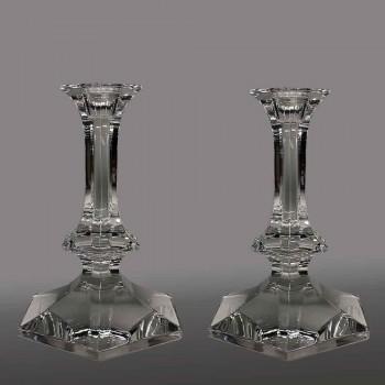 bougeoirs Elysée en cristal val saint Lambert
