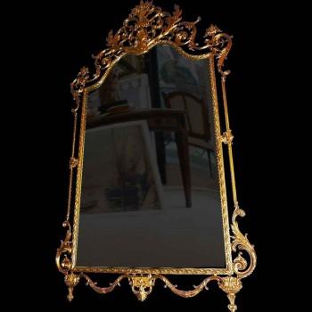 Specchio in stile Luigi XVI in bronzo dorato del XIX secolo