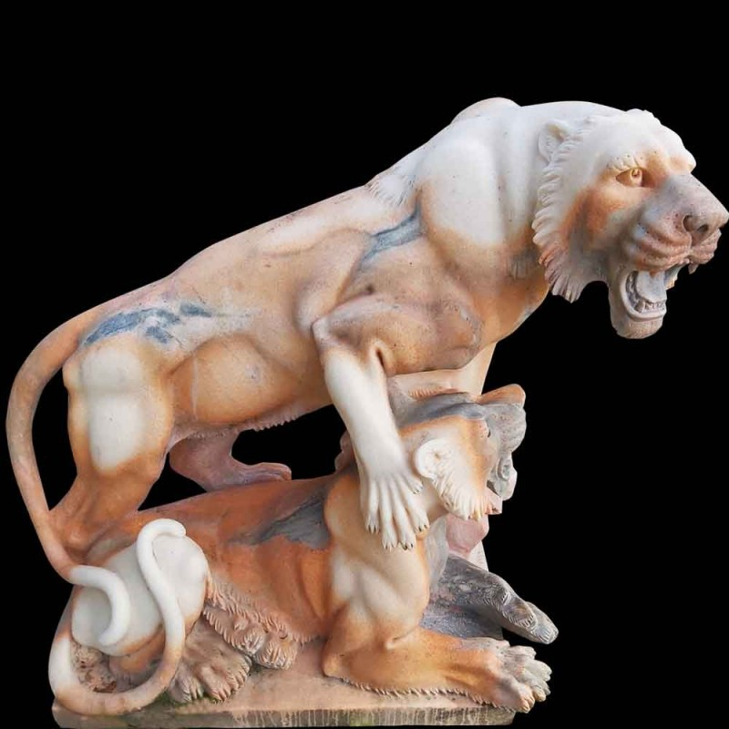 Lioness marble sculpture with his Lion cub