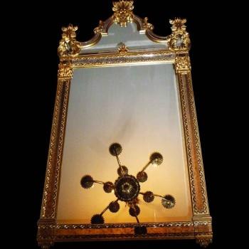 miroir de style Louis XV en bois doré à la feuille d'or