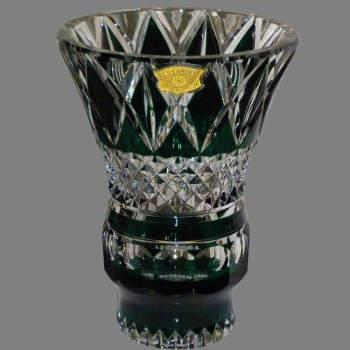 Vase en cristal du Val Saint Lambert vert émeraude Art Déco