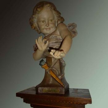 """Terracotta sculpture """"Aristide de Raniéri"""" 1880/1914"""