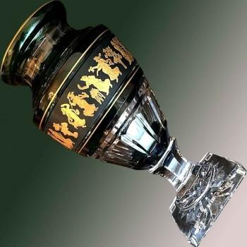 Vaso di cristallo Val Saint Lambert Jupiter (Danza-della-Flora) Verde