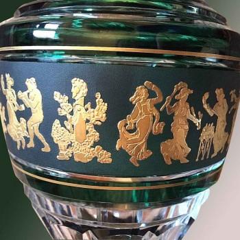 Crystal vase Val Saint Lambert Jupiter (Dance-of-Flora) Green