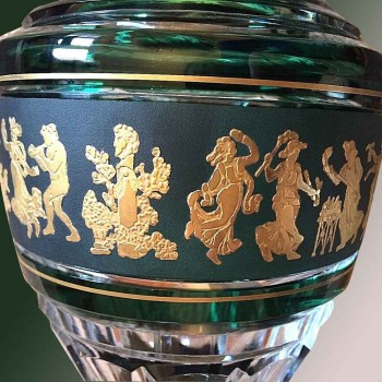 Vase en cristal Val Saint Lambert Jupiter (Dance-de-Flore) Vert