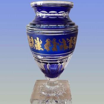 Florero de cristal de Júpiter firmado por Val Saint Lambert (danza de la flora)
