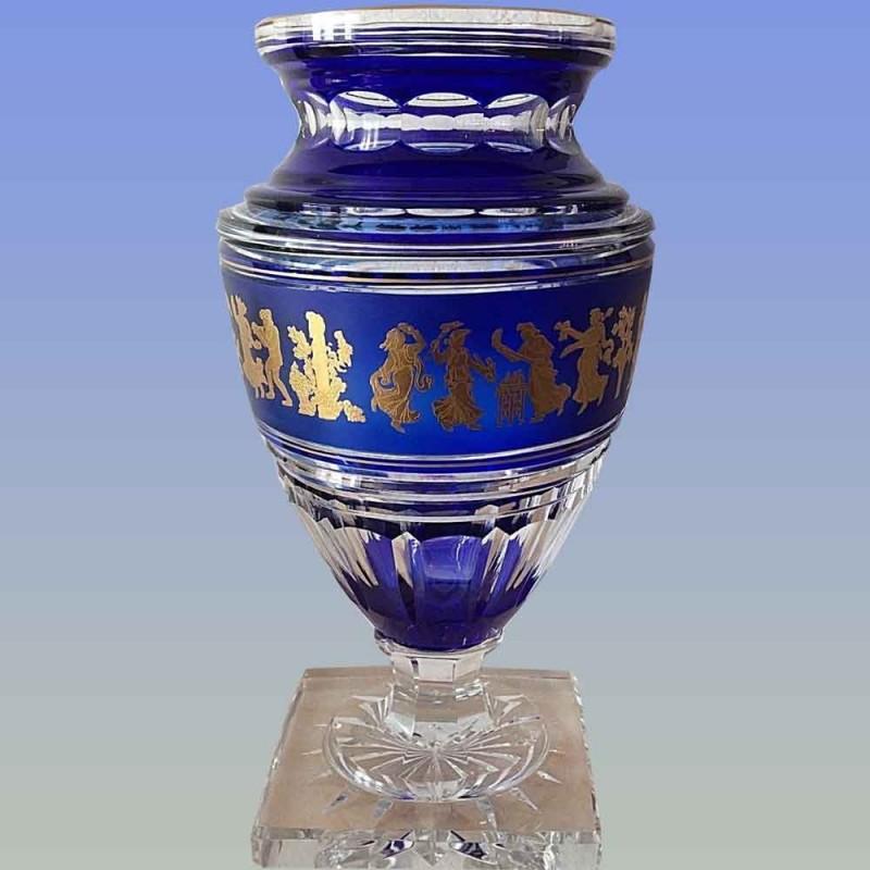 Crystal jupiter vase Val Saint Lambert signed (flora dance)