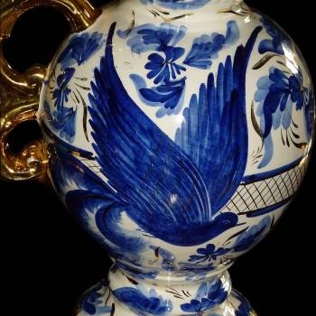 Pair of imposing vases in faience of Belgium signed Hubert Bequet