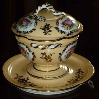 Brühe Becher Bouillon bedeckt Porzellan Paris