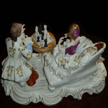 fine Italian china group from Capo Di Monte titled (the chess game) anno 1925