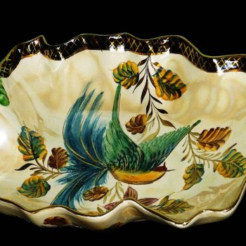 cup, center table enamelled painted (Belgium) Art Deco, signed, Stamped