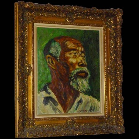 Oil on canvas, painting, orientalist portrait twentieth century