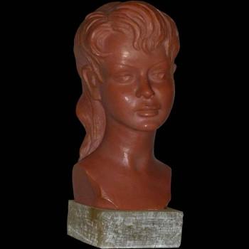 Buste van een jong meisje ondertekend door G. Carli