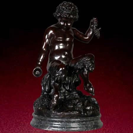 Grande statua bronzea di bacco del XIX secolo