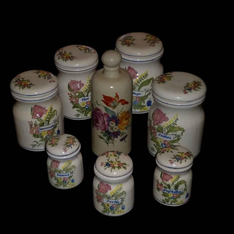 Set of Delft spice jars, Art Nouveau