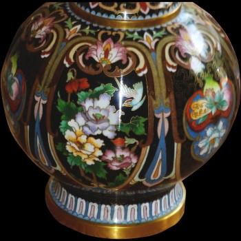 Vase chinois émaux cloisonnés de forme ovoide
