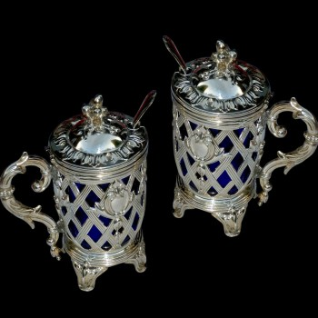 Mustardiers in argento antico del XIX secolo