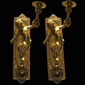 Paar aus Bronze Wall Wandlampen vergoldet 19th Century