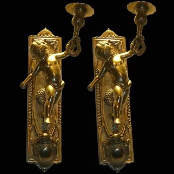Pair of Bronze wall sconces gilded 19th century