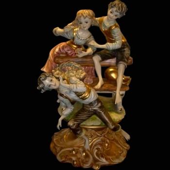 Groep van Italiaanse porselein Capodimonte pastorale