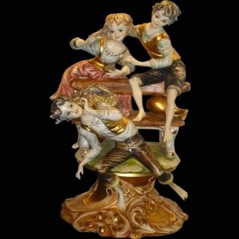 Gruppe italienischer Porzellan-Capodimonte Pastoral