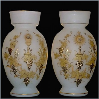 vases en opaline decor or Napoleon III