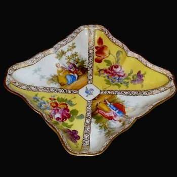 Knip vierkante ondertekend van de negentiende eeuw Meissen porselein