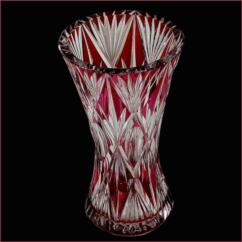 Vase in Crystal val Saint Lambert - large vase Cranberry PU signed and numbered