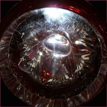 Vase en cristal val Saint Lambert-grand vase canneberge signe-PU et numerote