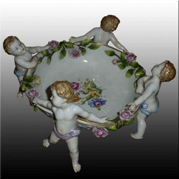 Taza porcelana alemana Manufactory Plaue XIX