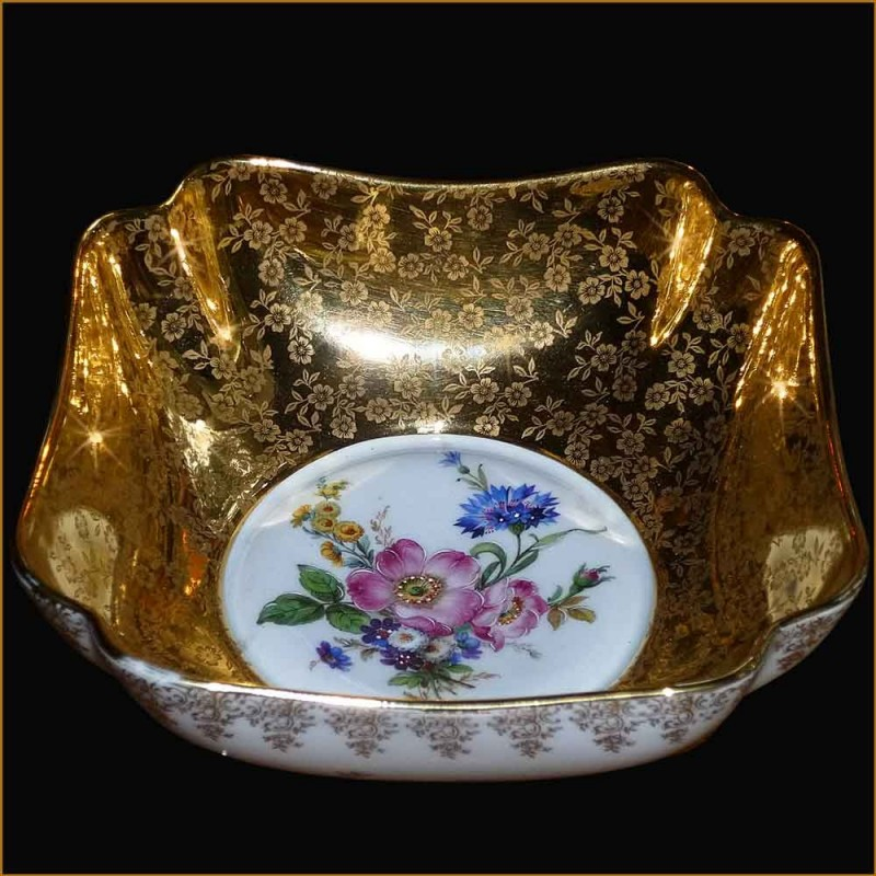 Dish Limoges porcelain with inlay gold double gilding