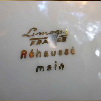 Schotel Limoges-porselein met gouden dubbele verguldsel inlay