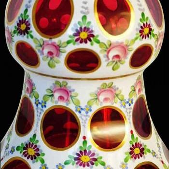 Medici vase opaline overlay 1900 Bohemia Crystal th'