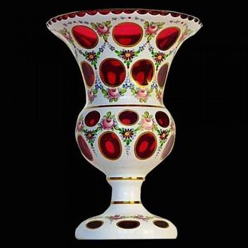 Medici vaso opalino sovrapposizione 1900 Bohemia Crystal th'