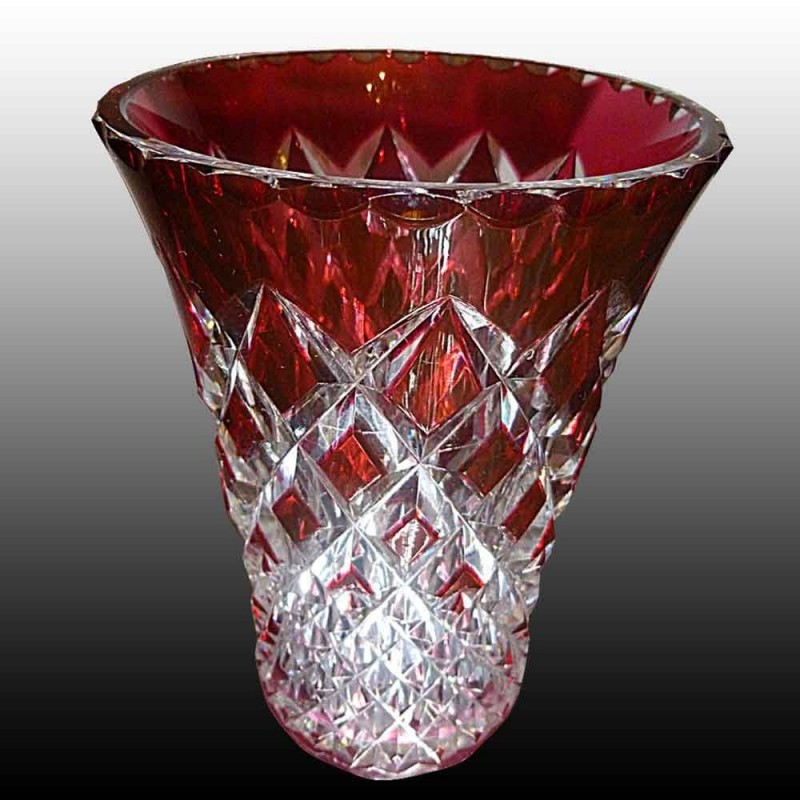 Val Saint Lambert signed Cranberry vase