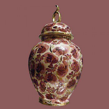 Porcelain-earthenware covered vase, vase Hubert Beattie Quaregnon