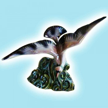 Porcelain-faience H. Beattie-pigeon fine polychrome earthenware