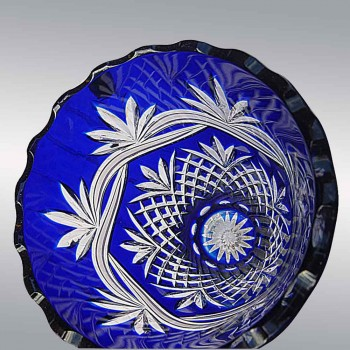 St. Louis France Crystal cut and doubled cobalt blue vase shaped Andover