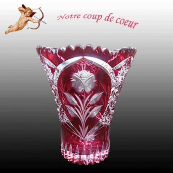 Val Saint Lambert Kristall-Cranberry-Val Saint Lambert Vaas Preiselbeeren Vase