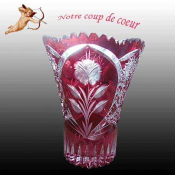 Val Saint Lambert Crystal-Cranberry-Val Saint Lambert Vaas Cramberry Vase